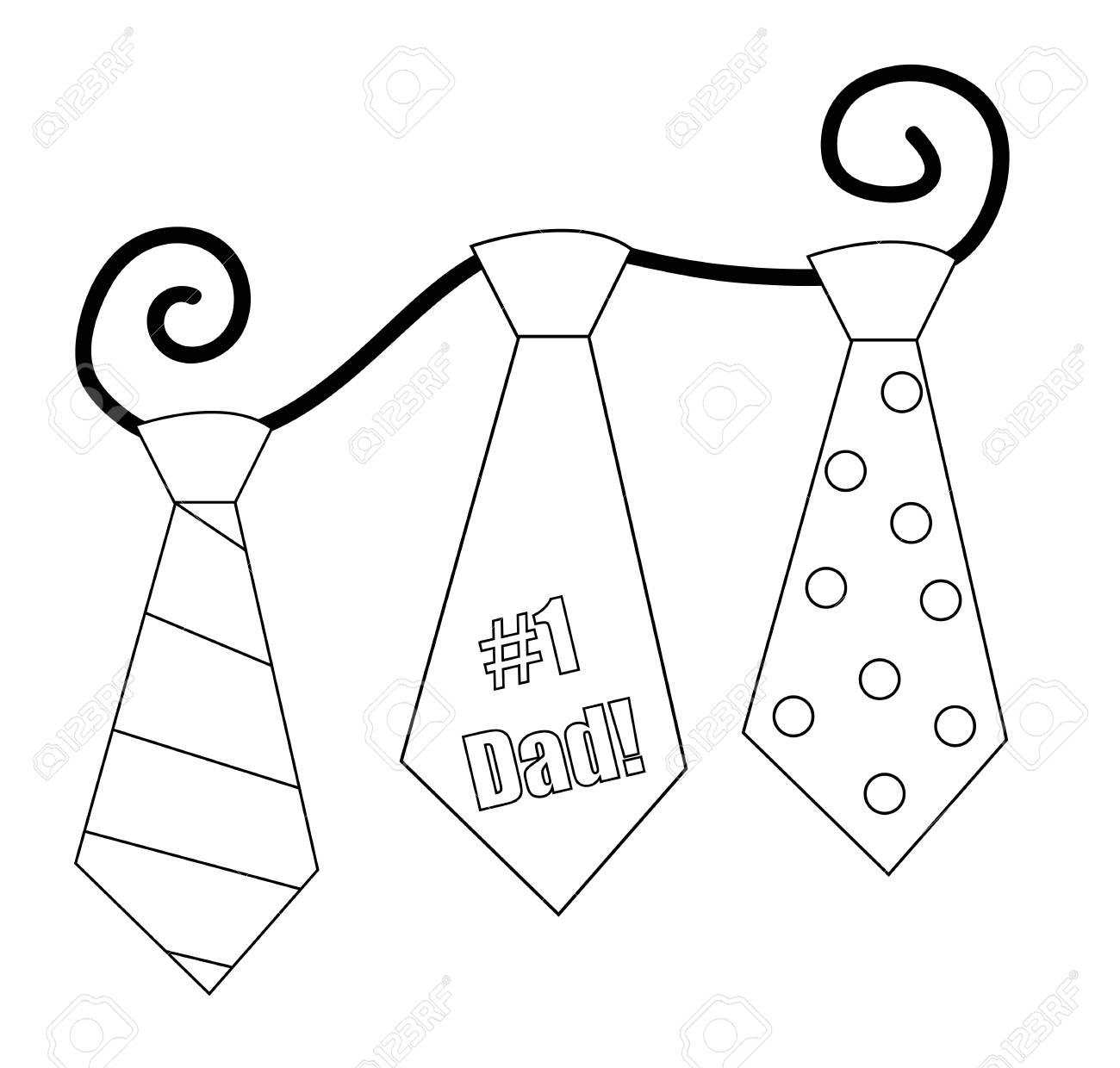 Día De Padres Corbata Página Para Colorear Ilustraciones Vectoriales ...