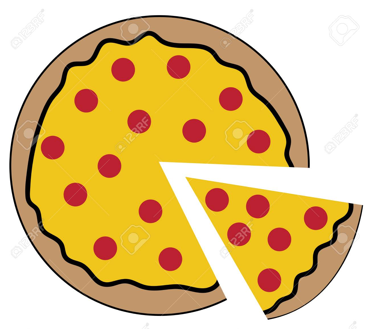 pepperoni pizza in cartoon illustration royalty free cliparts rh 123rf com  pepperoni pizza clipart free