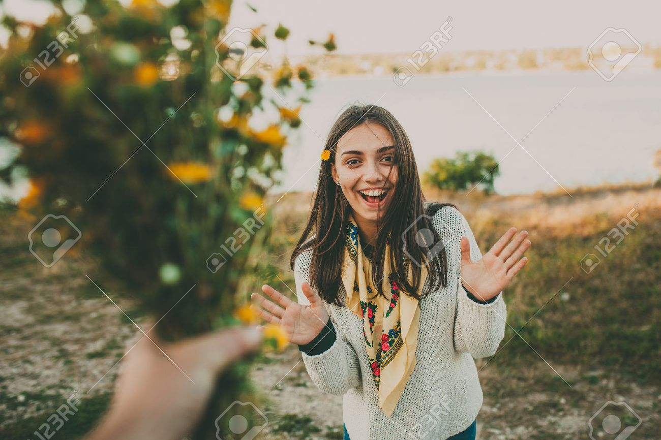 Surprise For Your Girlfriend..Giving Flowers Gift. Excited Teen ...
