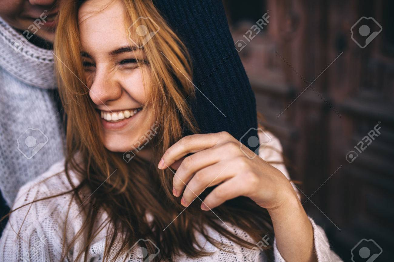 Close up portrait of happy young hipster couple smiling together on autumn day - 51670810