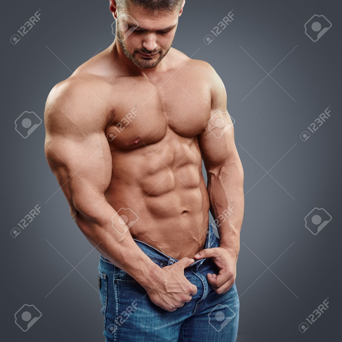Perfect Muscular Chest And Abs Cropped Image Of Muscular Man
