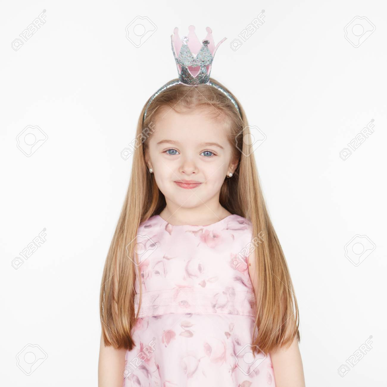 Square Portrait Of Cute Smiling Little Blond Girl In Princess