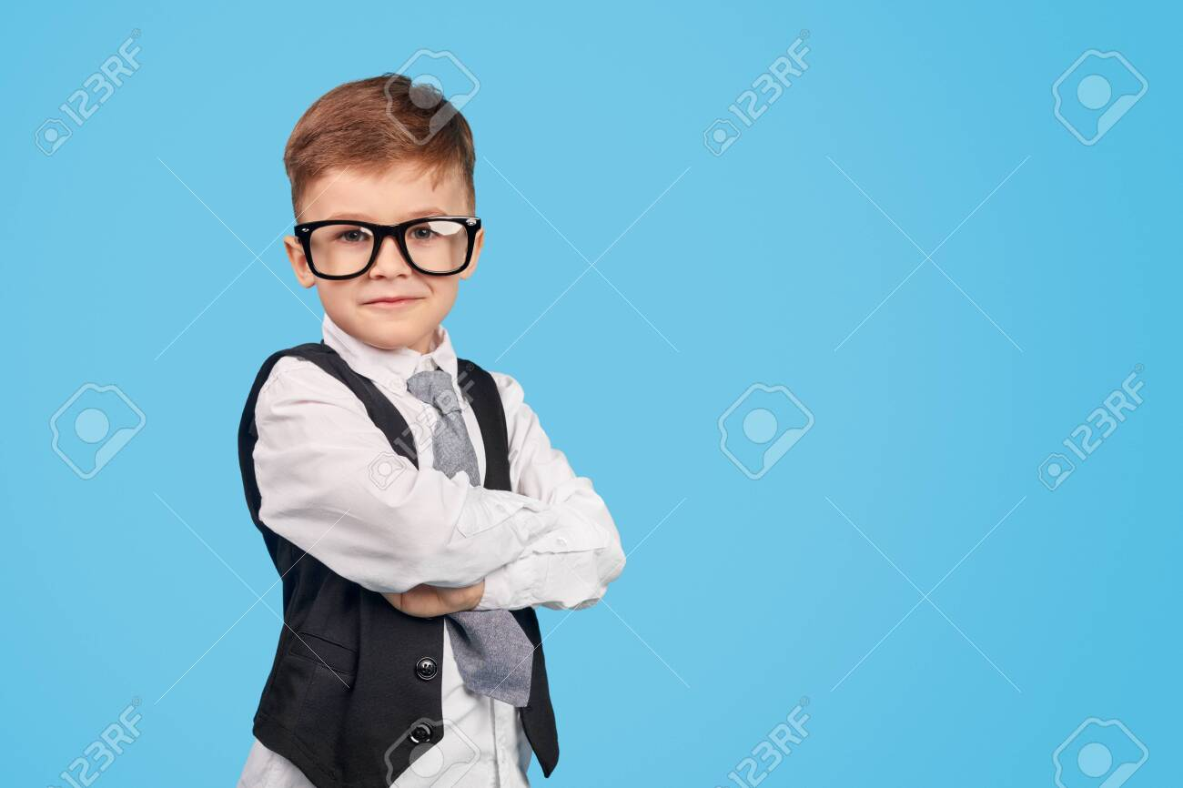 Confident little genius looking at camera - 129623583