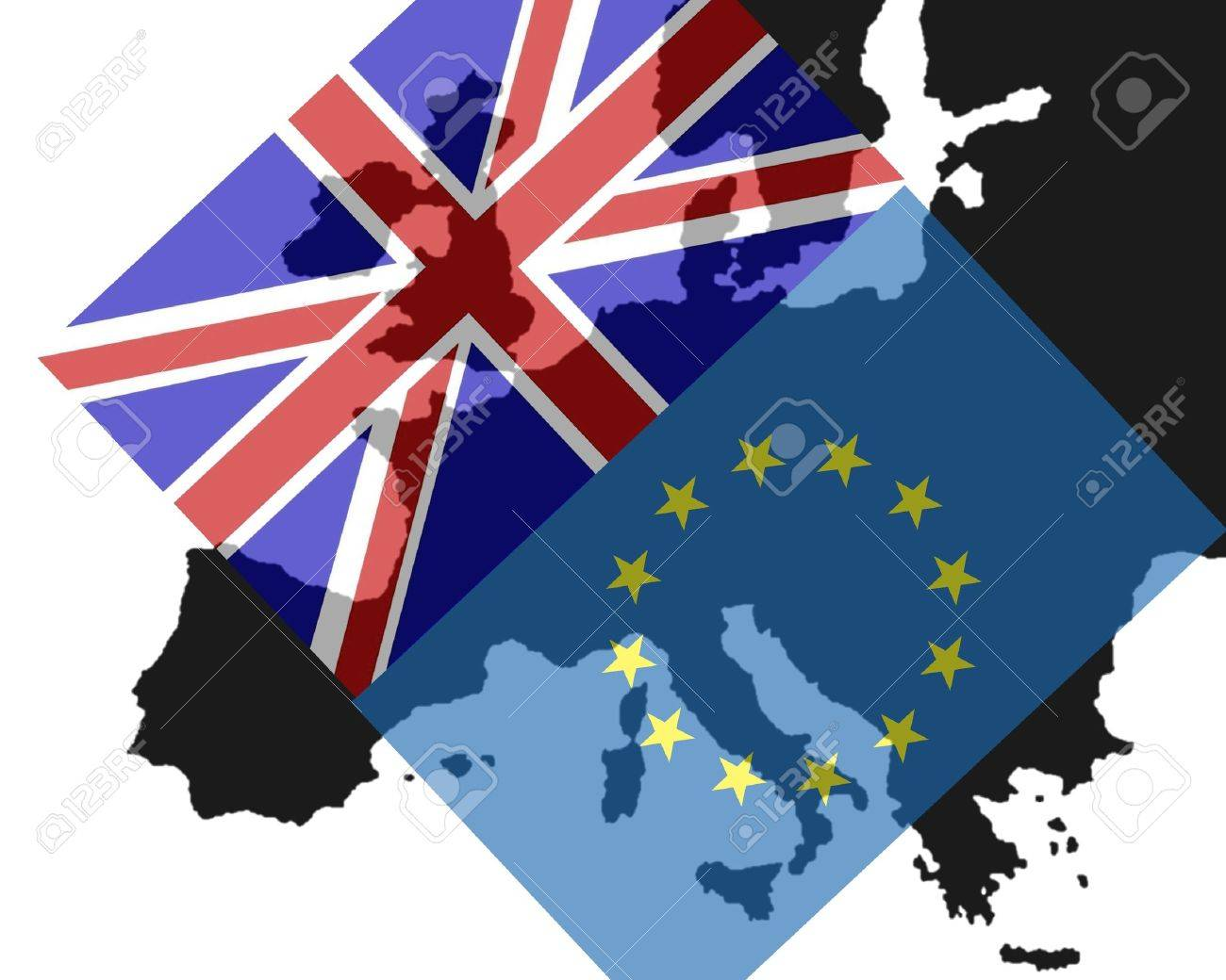 Power Struggle Between the UK and Europe The flags of Britain and Europe make the contours of Europe show through - 40649819
