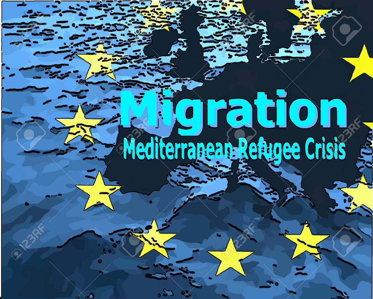 Migration to Europe Refugee Crisis in the Mediterranean The map of Europe with the ring of stars surrounded by water with the word quotmigrationquot quotMediterranean Refugee Crisisquot. - 40649829