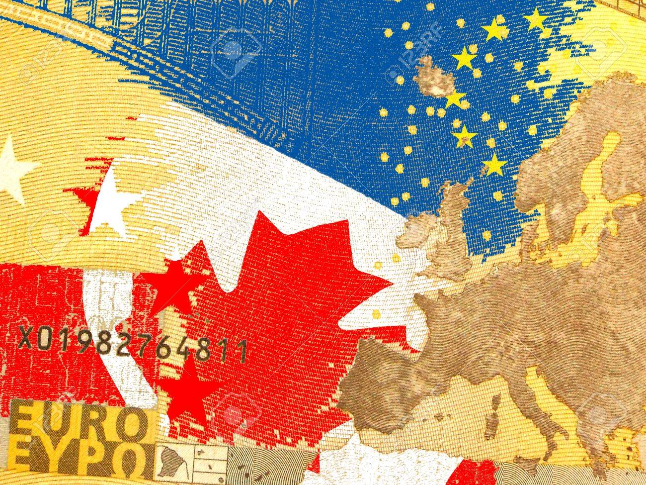 CETA - the Comprehensive Economic and Trade Agreement - Canadian flag behind a translucent Euro banknote - 42642856