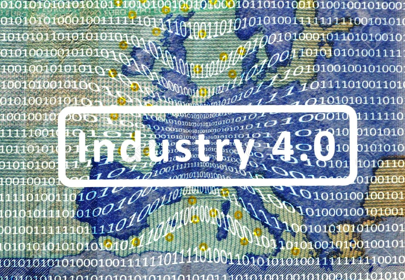 Industry 4.0: The Working World of the Future About the map of Europe is a film with digital encoding. Central inscription: industry 4.0. - 47911900