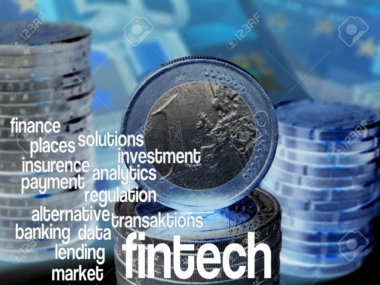FinTech - Word cloud to FinTech (financial technology). Background: Euro bills, blue - 55926352