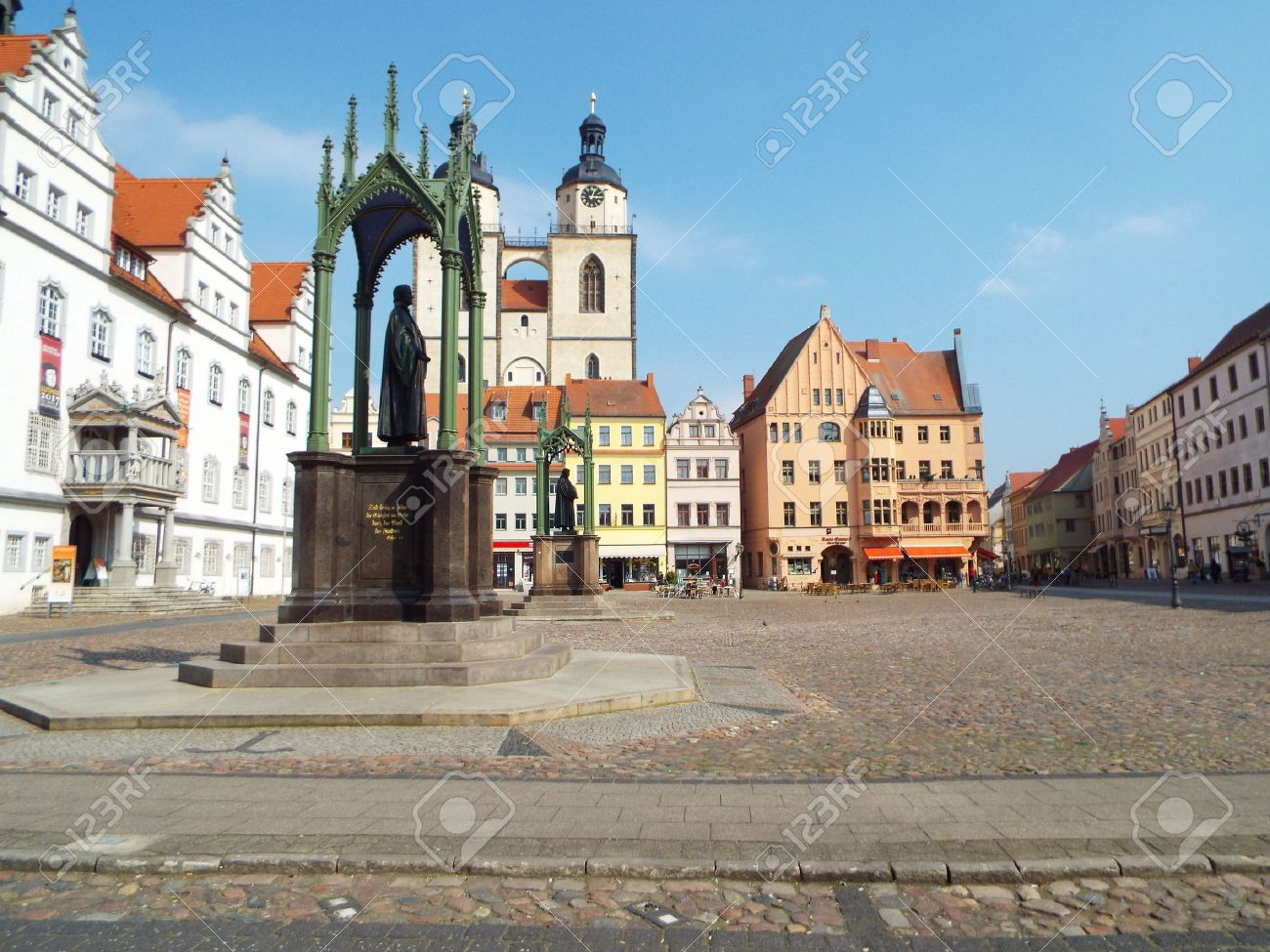 market place before the city council with the monuments of luther
