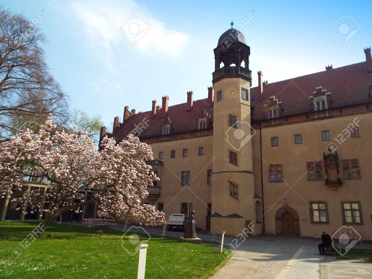 Luther-house where Martin Luther lived and taught, Wittenberg, Germany 04.12.2016 At the door of the Castle Church in Wittenberg reformer Martin Luther nailed his 95 theses. By Luther and Melanchthon, the Wittenberg wurde the center of the Reformation. - 57541747