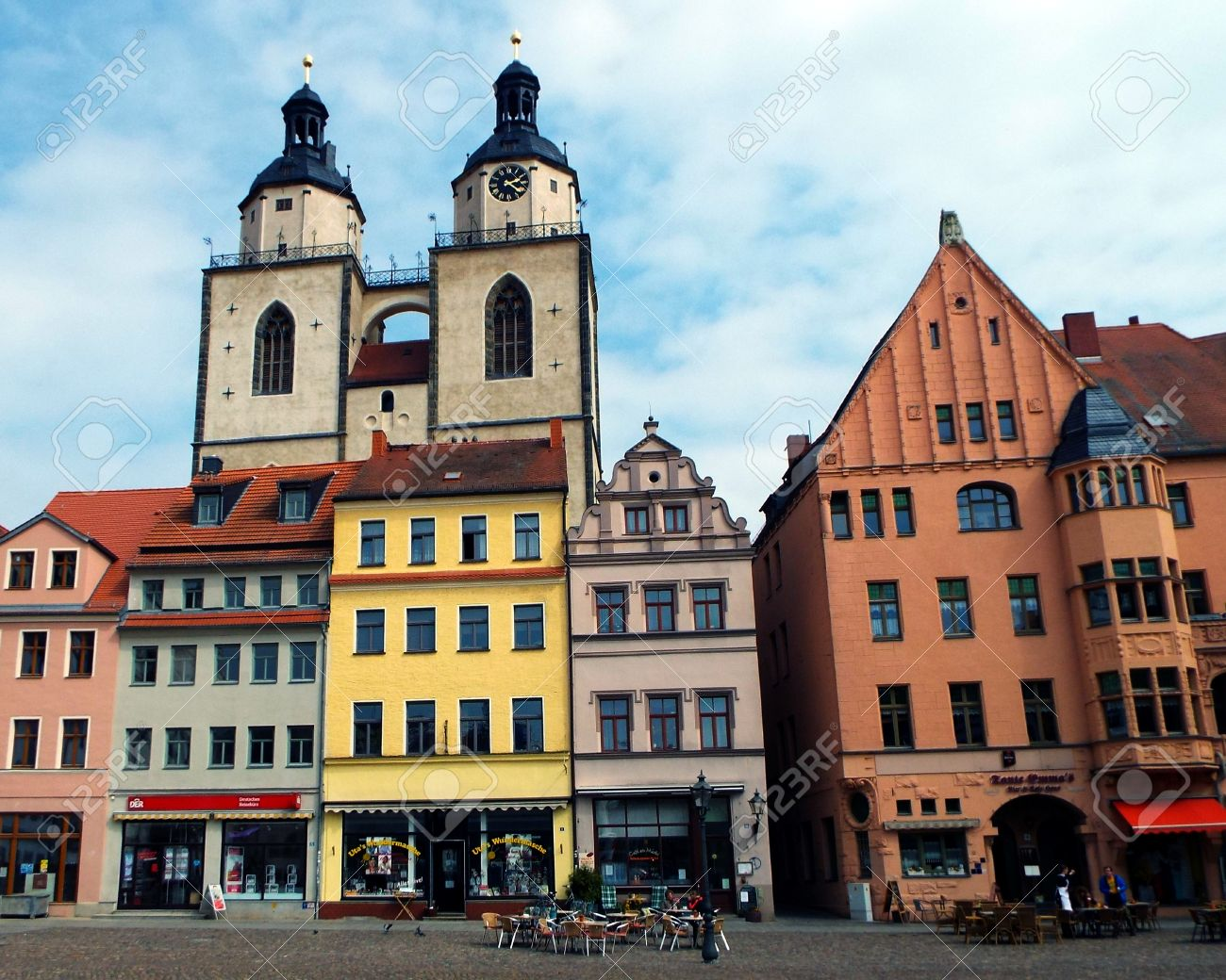Decorating martin luther church door photos : Towers Of St. Mary's Church, Wittenberg, Germany 04.12.2016 - At ...