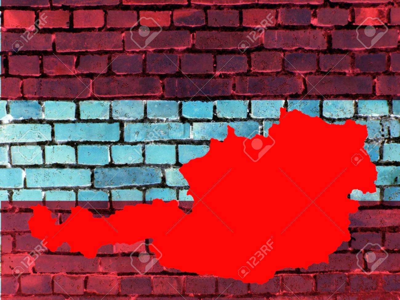 Topics to Austria (background) - The red map of Austria against a brick wall in the national colors. - 60581385
