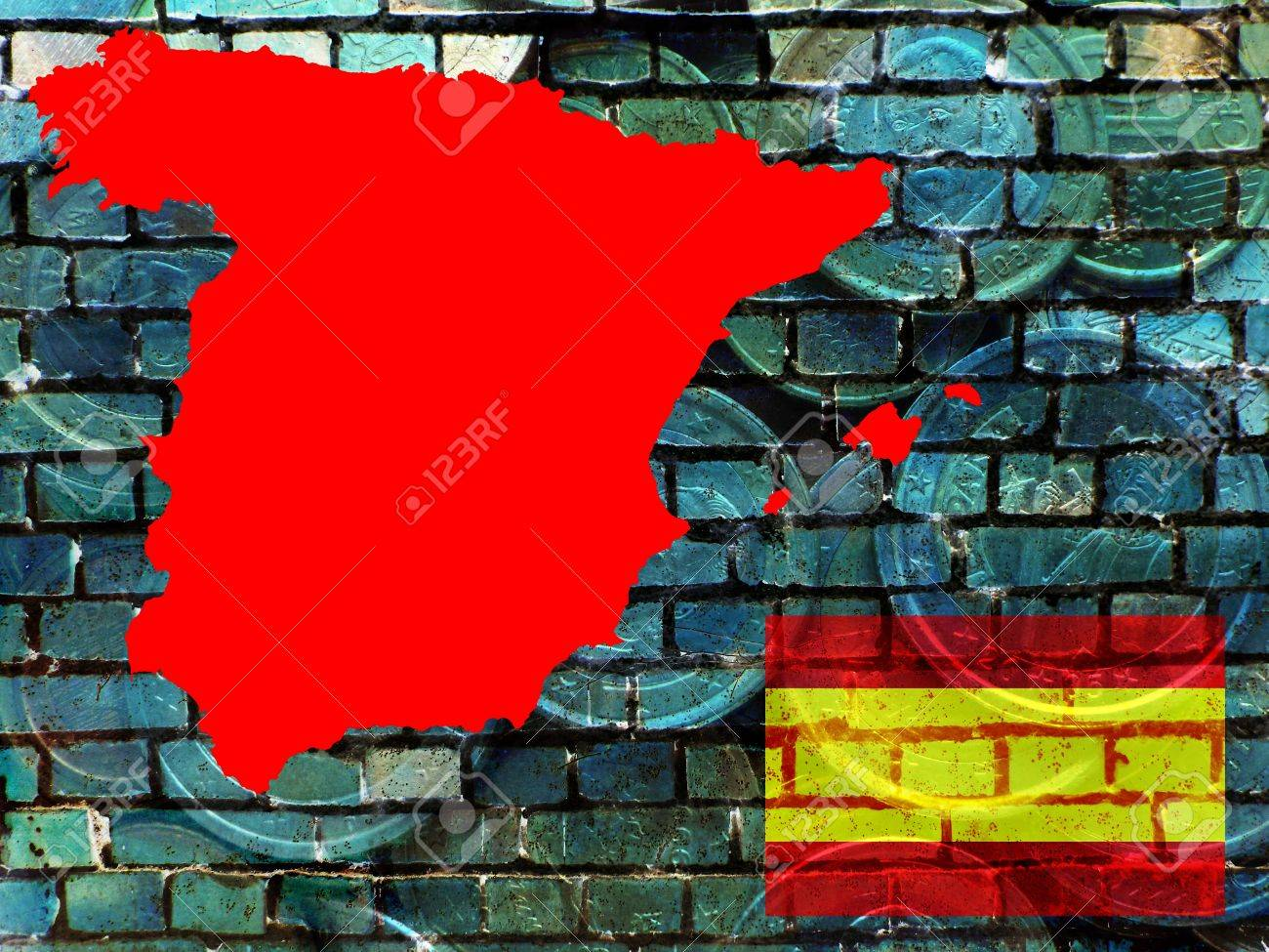 Spain and the EU - financial problems - The red map of Spain is projected on a bluish brick wall. Right below the national flag. Translucent: Euro coins. - 60581388