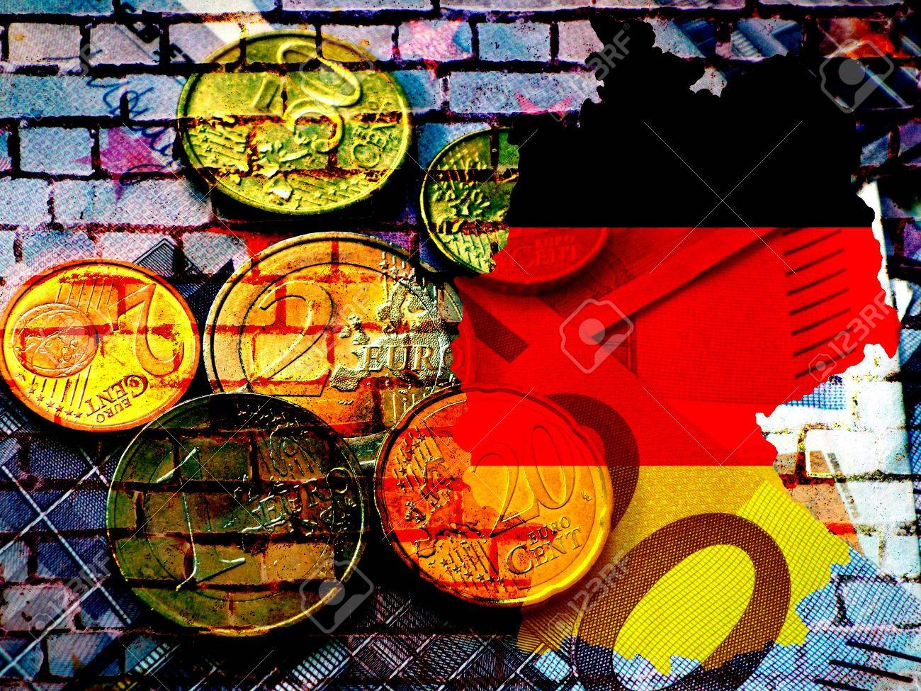 The map of Germany in the colors of the national flag in front of a bluish brick wall with the European circle of stars. Translucent: Euro coins. - 60581390