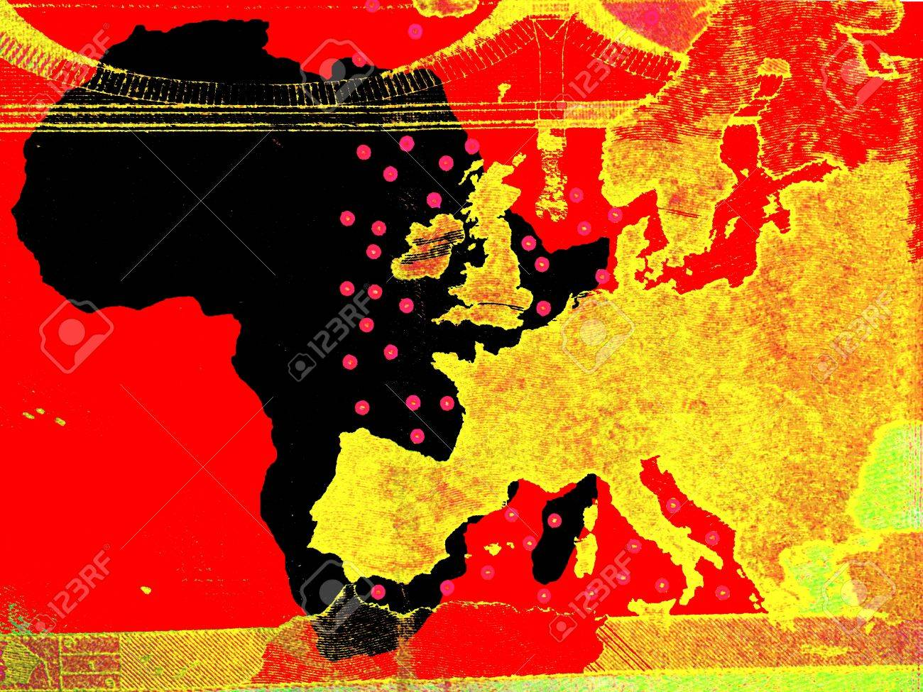 The African policy of Europe - A European map in golden colors is right of the African continent in black. Background: red. - 70302972