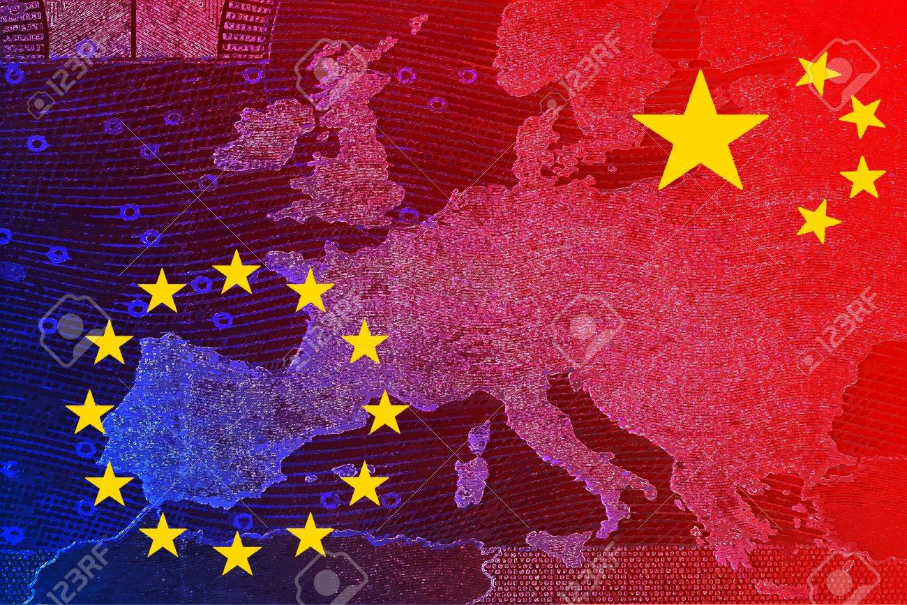 China's relationship with Europe - The Chinese flag and the European flag overlap on the banner map of Europe - 69459291