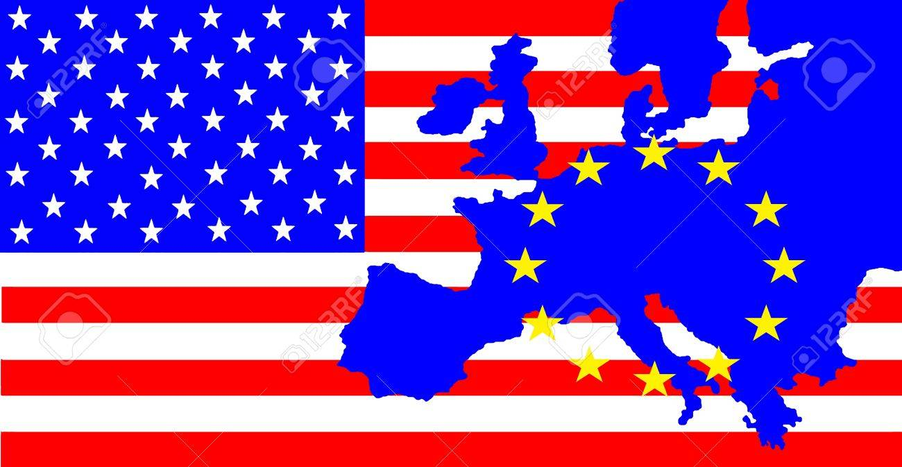 usa and eu on the us flag is the map of eu with the stars