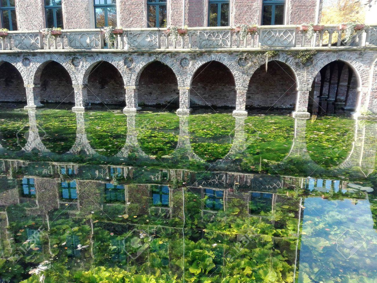 Mirroring - Silhouette of a castle façade mirrored in a moat, covered with aquatic plants. Germany 10.30.2016 - 68769727
