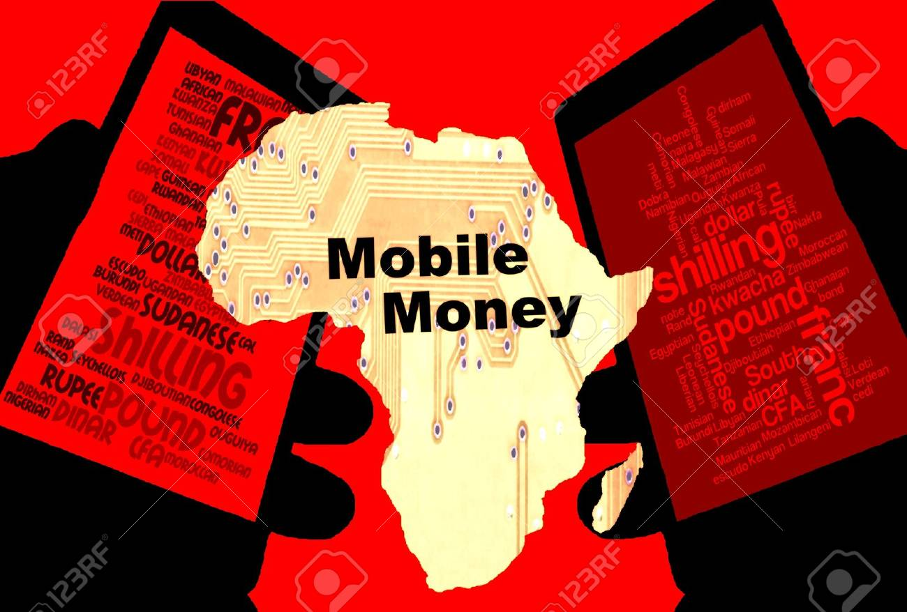 """African Mobile Money - Two smartphones show the currencies of Africa. Between: A map of the continent in yellow with the inscription """"mobile money"""". Background: red. - 76113234"""