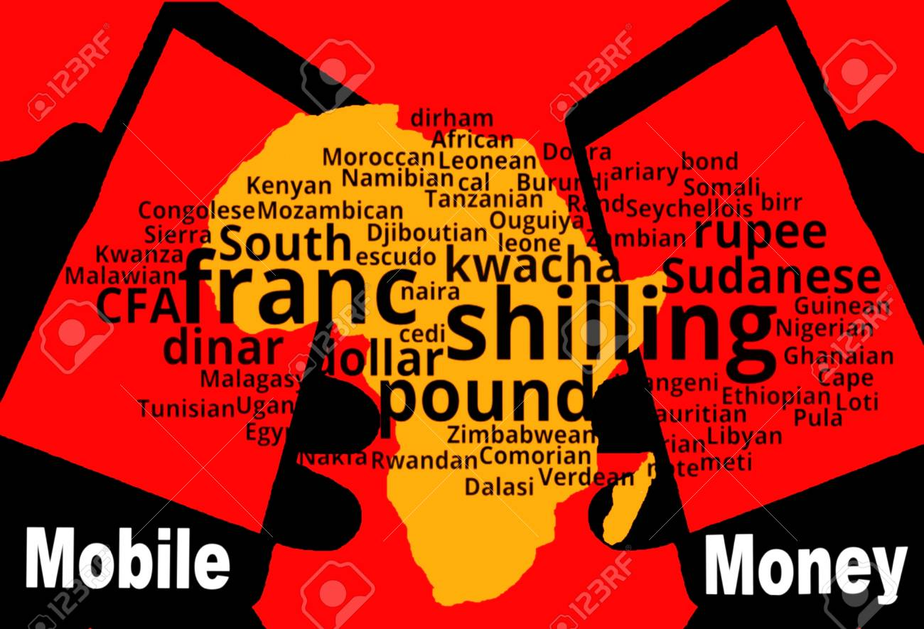 African Mobile Money - Two smartphones are in the foreground. Between: A map of the continent in yellow. Above a tag-cloud with the African currencies. Inscription: Mobile Money. - 76130810