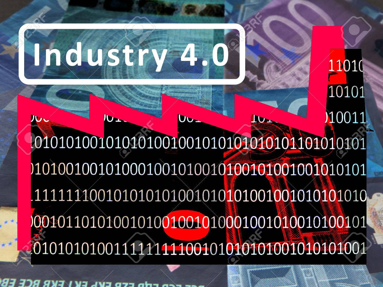"""Industry 4.0: The working world of the future â € """"The symbol of a factory against the background of euro notes. The roof section signal a rising exchange rate. Inscription: Industry 4.0 (International version) - 77000301"""