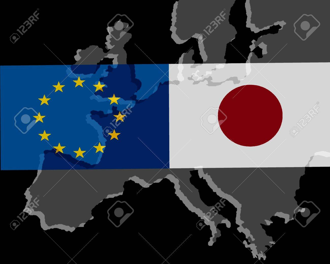 EU - Japan relationship - The flags of Japan and Europe lie over..