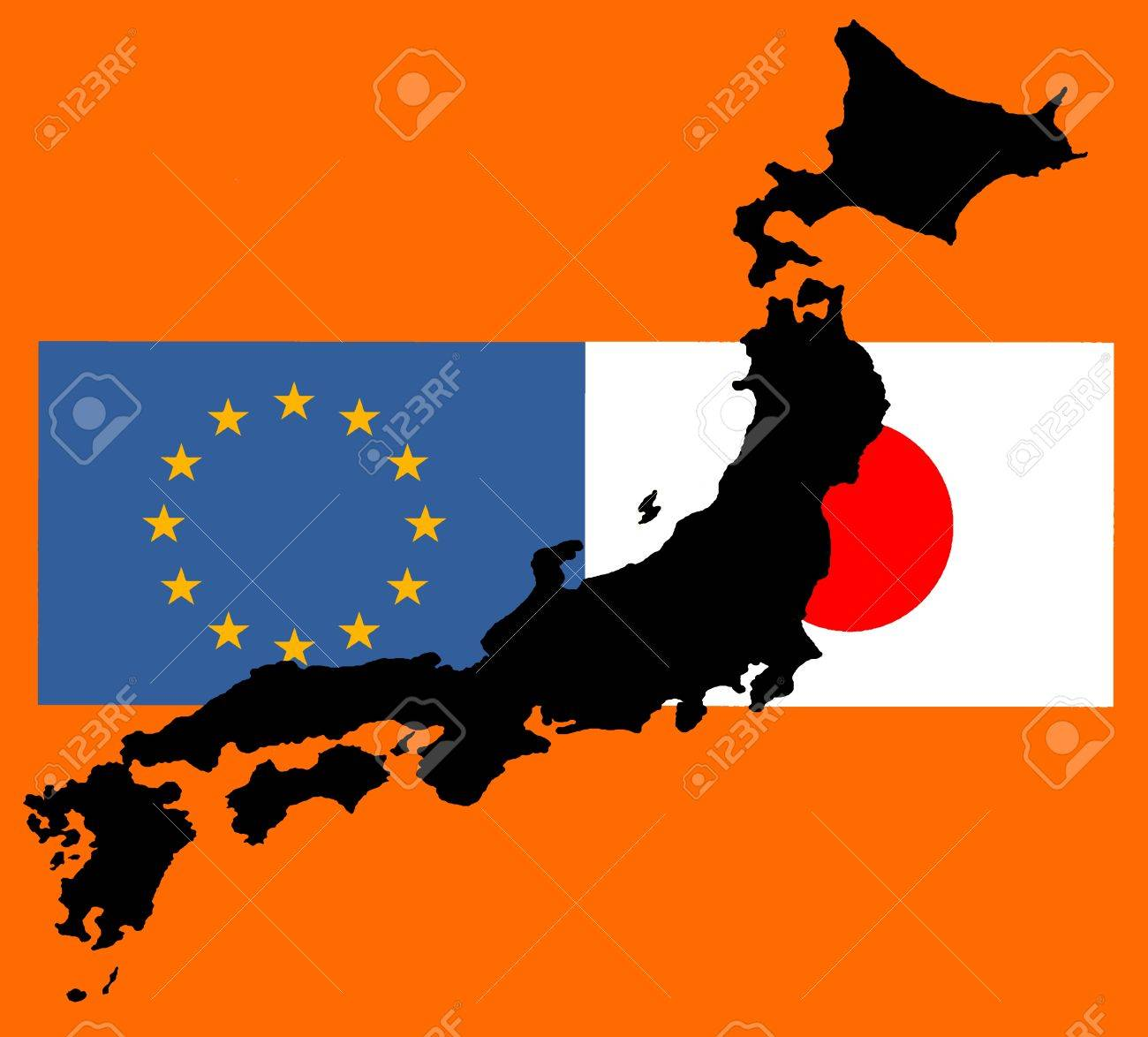 EU - Japan relationship - The flags of Japan and Europe lie over a map of Japan. While TTIP - the trade agreement with the United States (JEFTA), the negotiations on a trade agreement with Japan (JEFTA) were carried out as soon as possible. Slowly the pro - 81409379