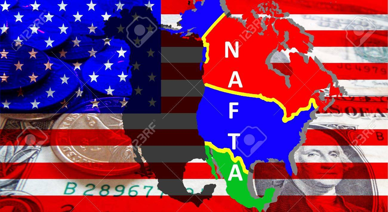 NAFTA - American trade agreement - A map of Mexico, the USA and Canada on the American flag. Beside a shadow map in black as a symbol of the NAFTA. Dollar notes are shining through. Inscription: NAFTA - 84210342