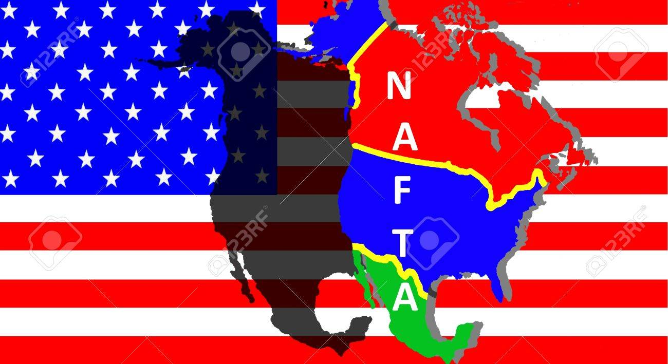 NAFTA - American trade agreement - A map of Mexico, the USA and Canada on the American flag. Beside a shadow map in black as a symbol of the NAFTA. Inscription: NAFTA - 84210343