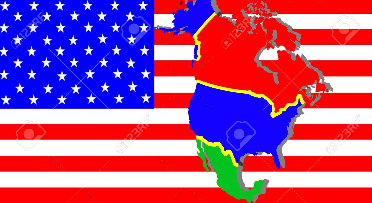 Nafta American Trade Agreement A Map Of Mexico The Usa And