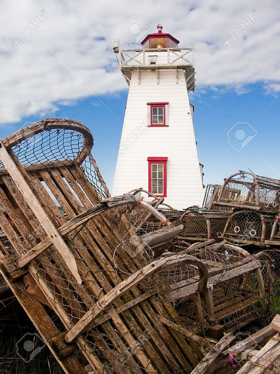 Lobster fishing lighthouse and lobster traps north rustico pei