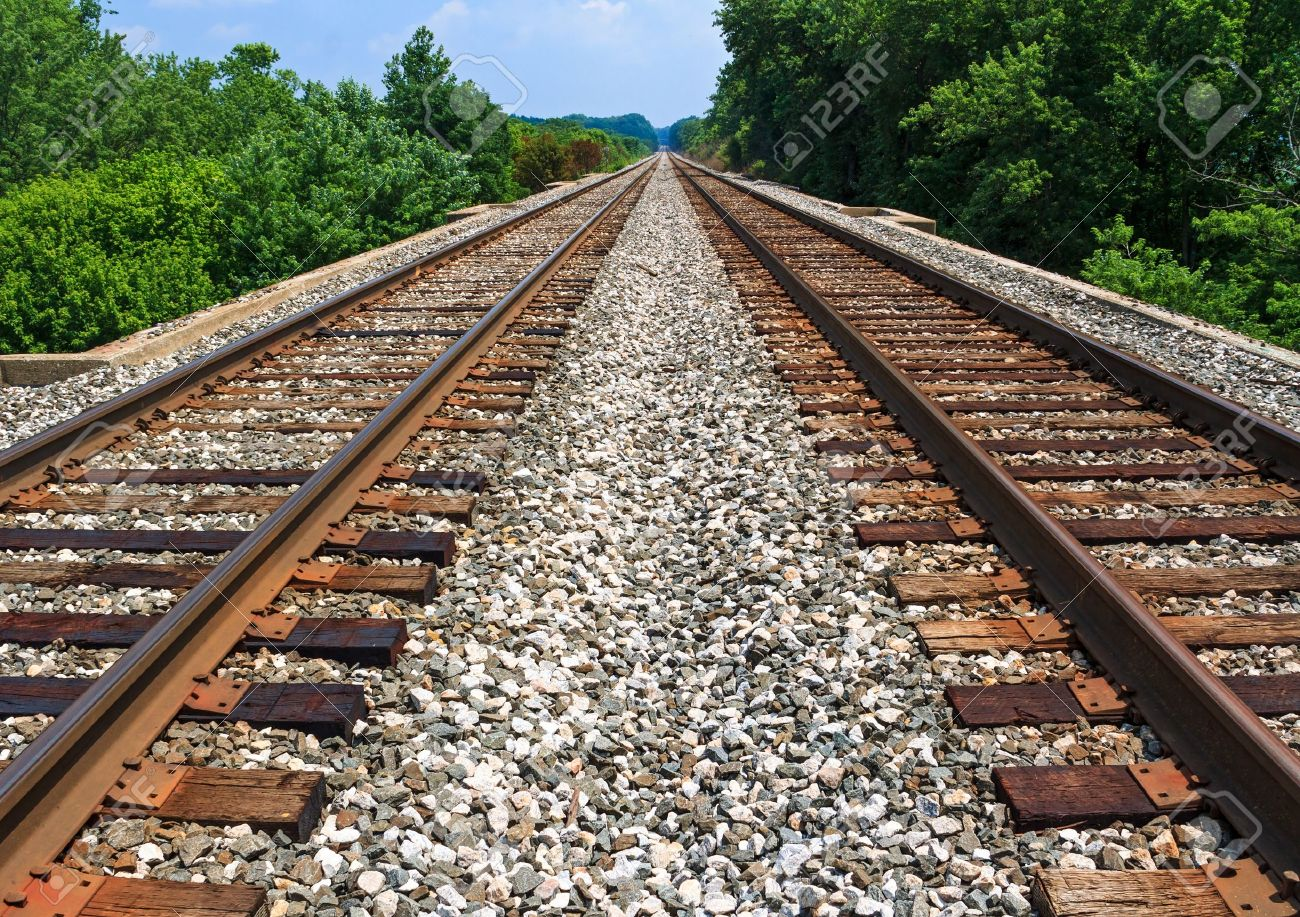 Two sets of railroad tracks run straight and parallel to a vanishing point on the horizon with green trees along side - 21266853
