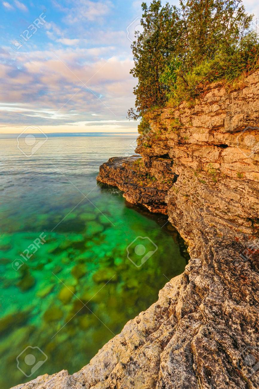 The Rocky Coast Of Door County Wisconsin Stock Photo Picture And