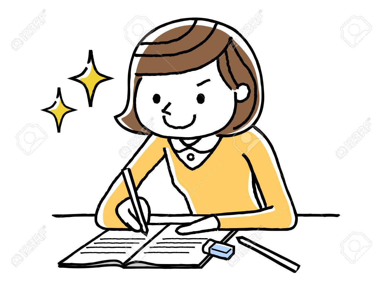 girl studying royalty free cliparts vectors and stock illustration rh 123rf com Studying in Bed boy and girl studying clipart