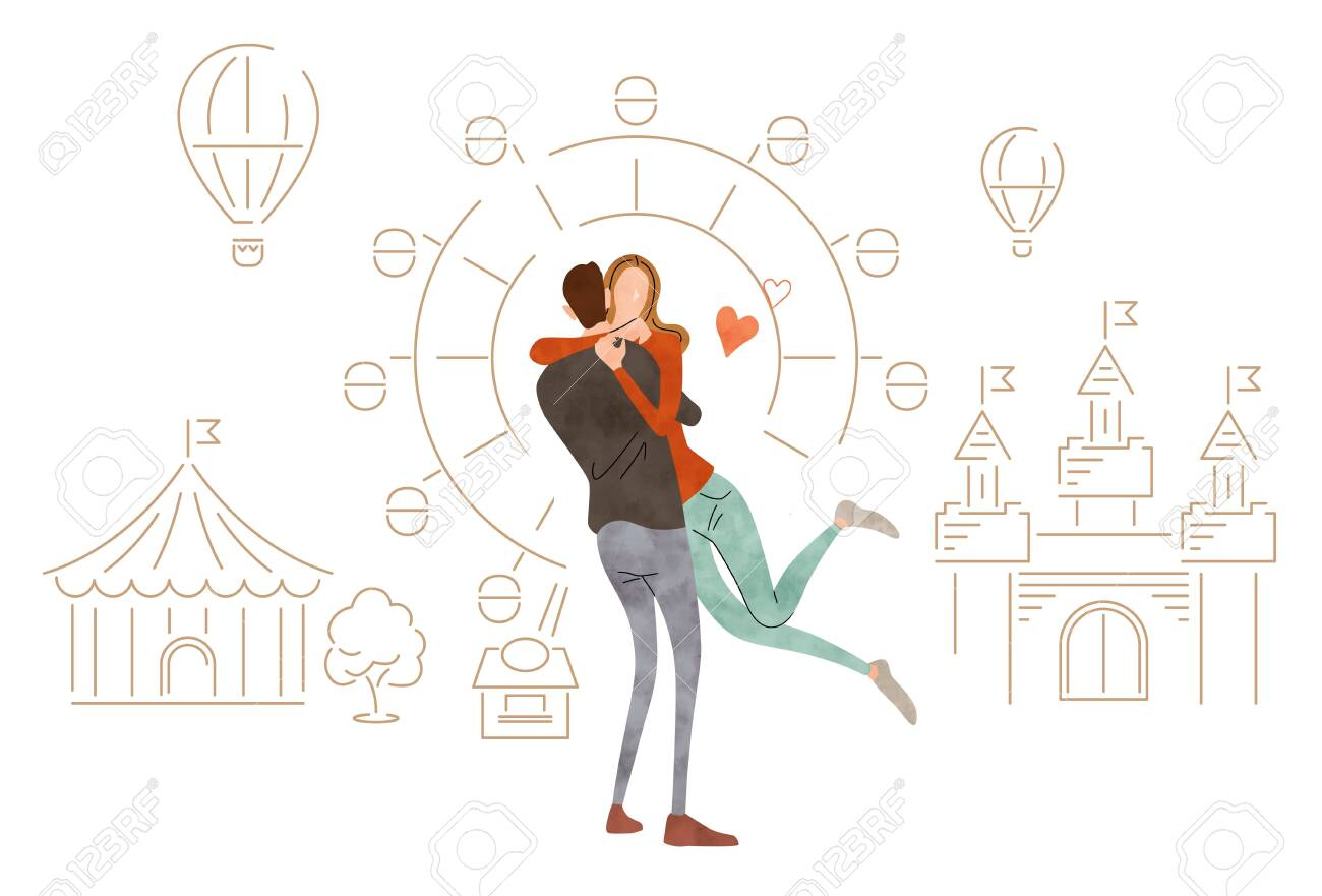 Illustration material: Young couple embracing - 154659785