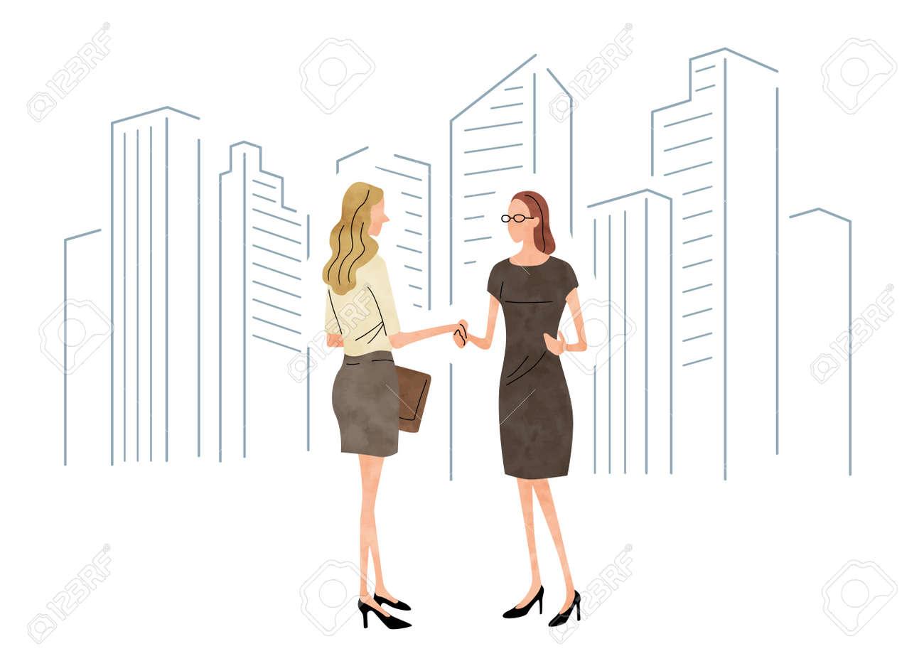 Stock Illustration: business scene, handshake, woman - 154659791