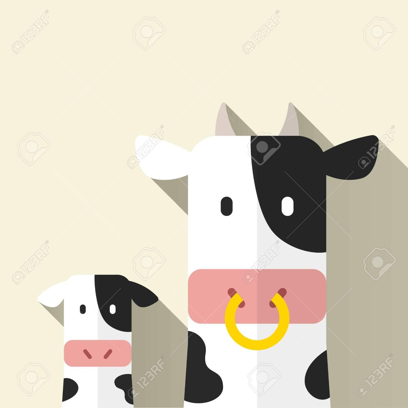Cow parent and child, vector illustration, flat design - 154659813