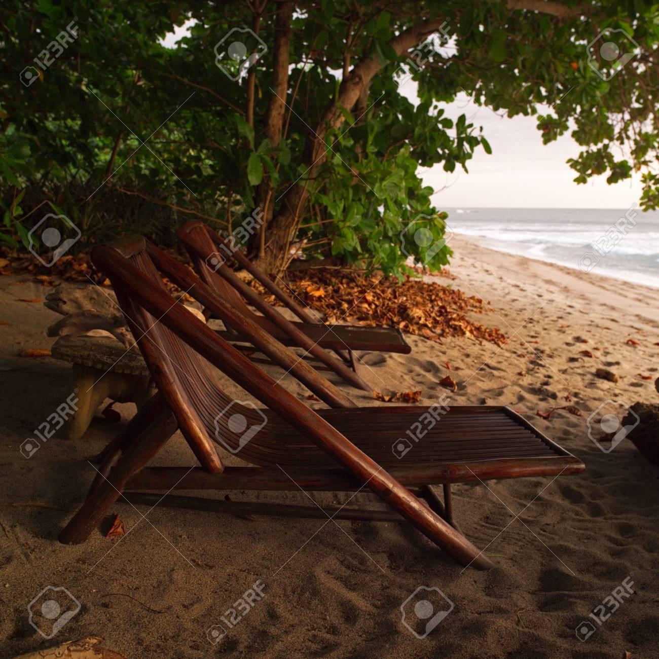 malpais in costa rica lounge chairs on beach in costa rica stock