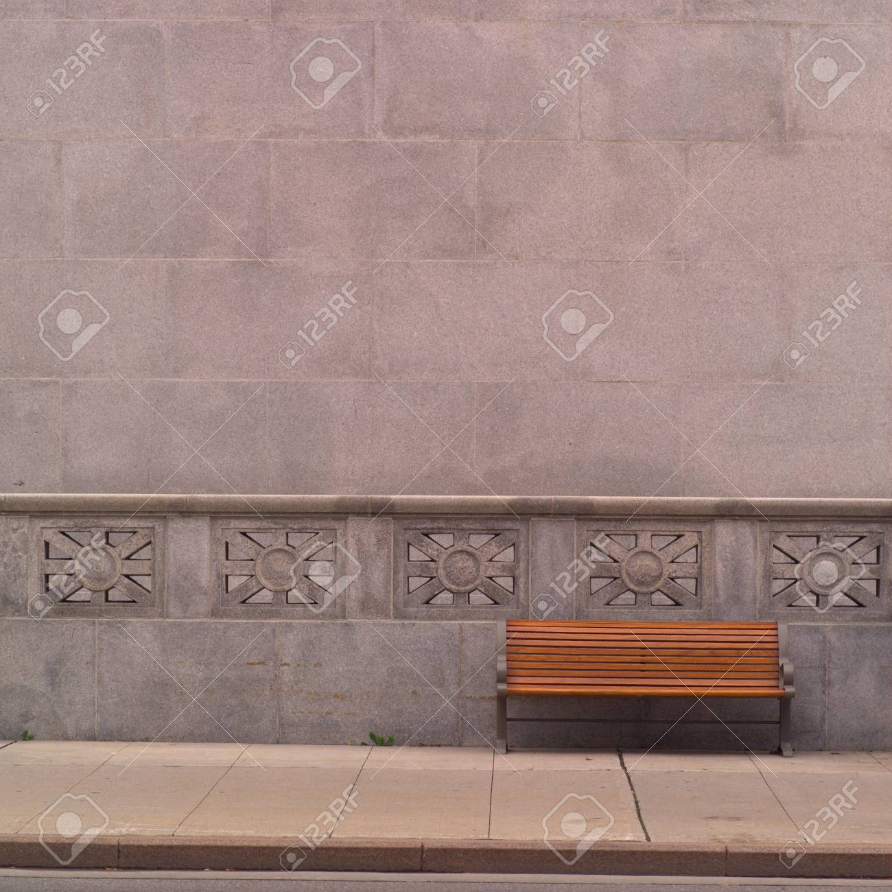 Ottawa Ontario Canada Empty Bench Outside Building Stock Photo