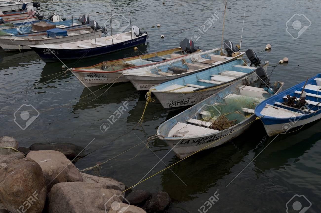 Fishing boats moored at the harbor, Sayulita, Nayarit, Mexico Stock Photo - 14201024