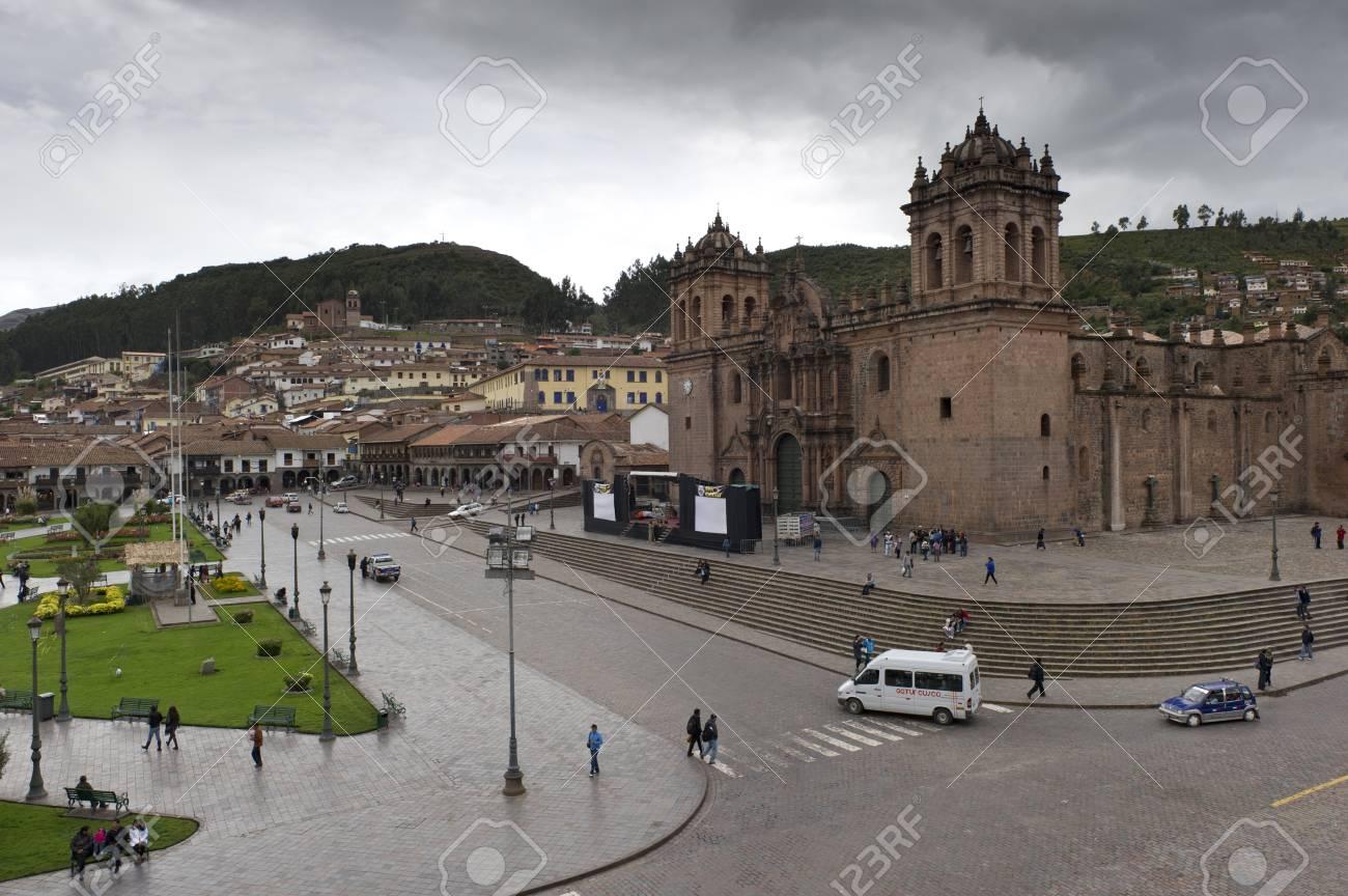 High angle view tourists at Plaza de Armas, Cuzco, Peru Stock Photo - 16769578