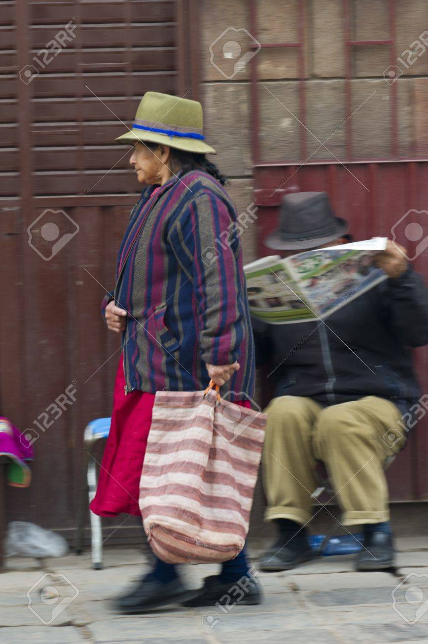 Woman carrying a bag and walking in a street, Sacred Valley, Cusco Region, Peru Stock Photo - 17227741