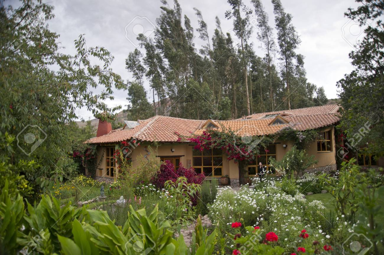 Garden In Front Of A Guesthouse, Willka Tika, Sacred Valley,.. Stock ...