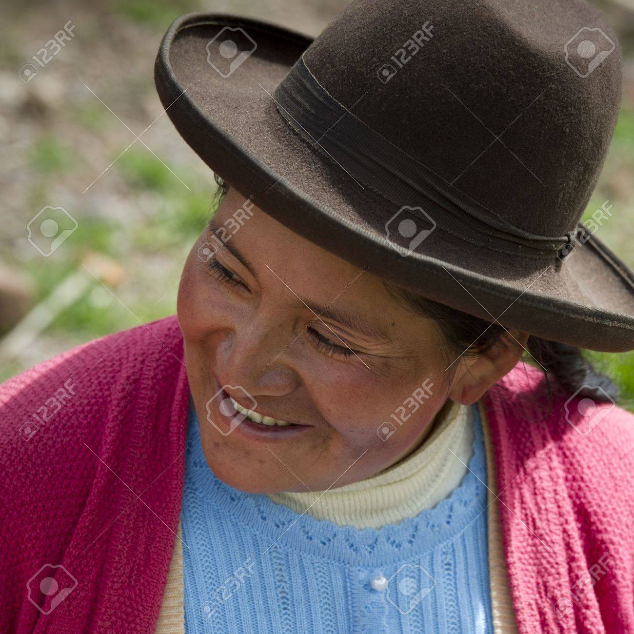 Close-up of a Quechua Indian woman smiling at Chumpepoke Primary School, Poques, Sacred Valley, Cusco Region, Peru Stock Photo - 17227811