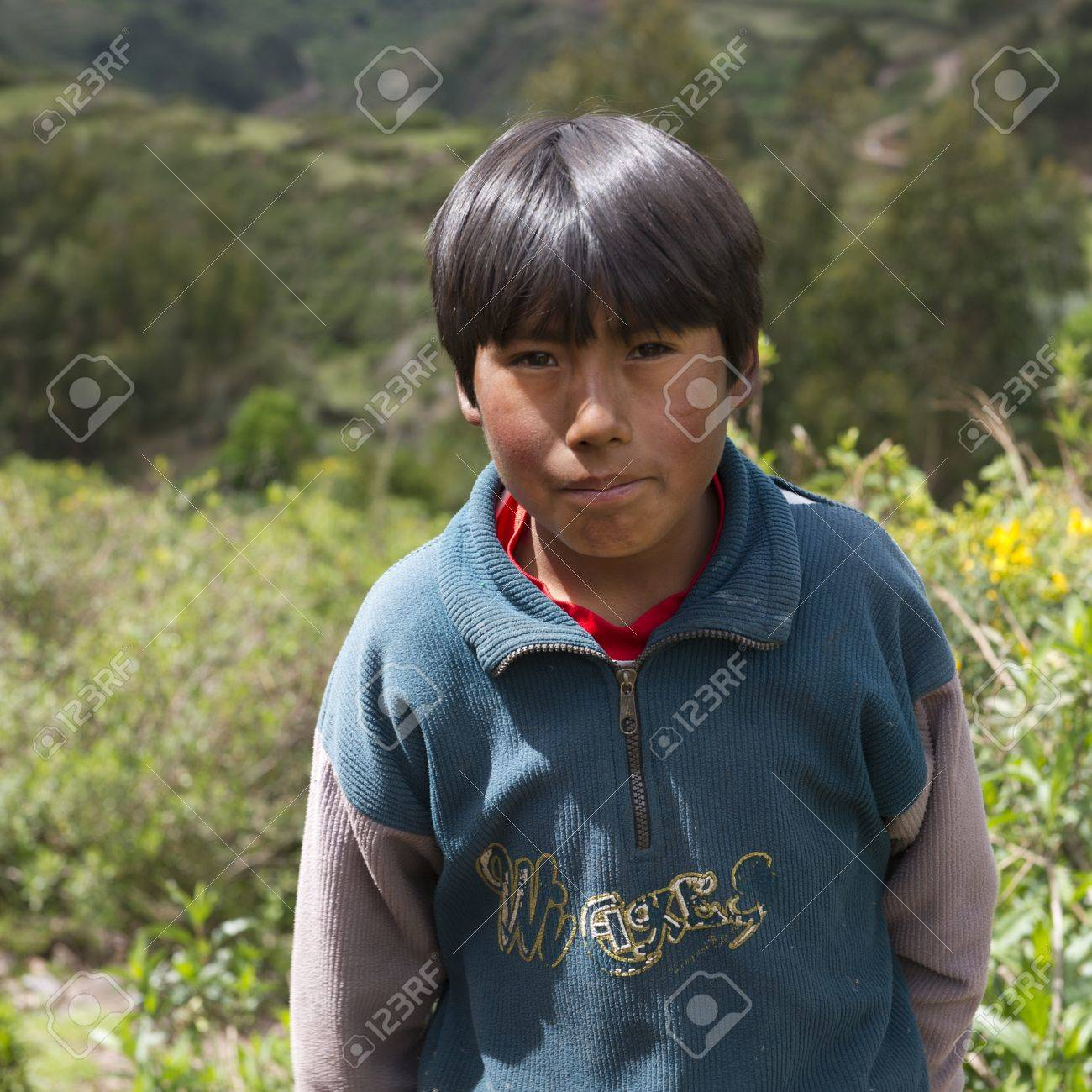 Portrait of a Quechua Indian boy at Chumpepoke Primary School, Poques, Sacred Valley, Cusco Region, Peru Stock Photo - 17227810