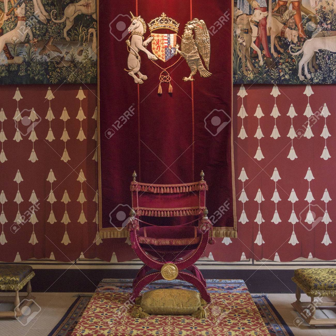 Throne Chair In Royal Palace Stirling Castle Scotland Stock Photo