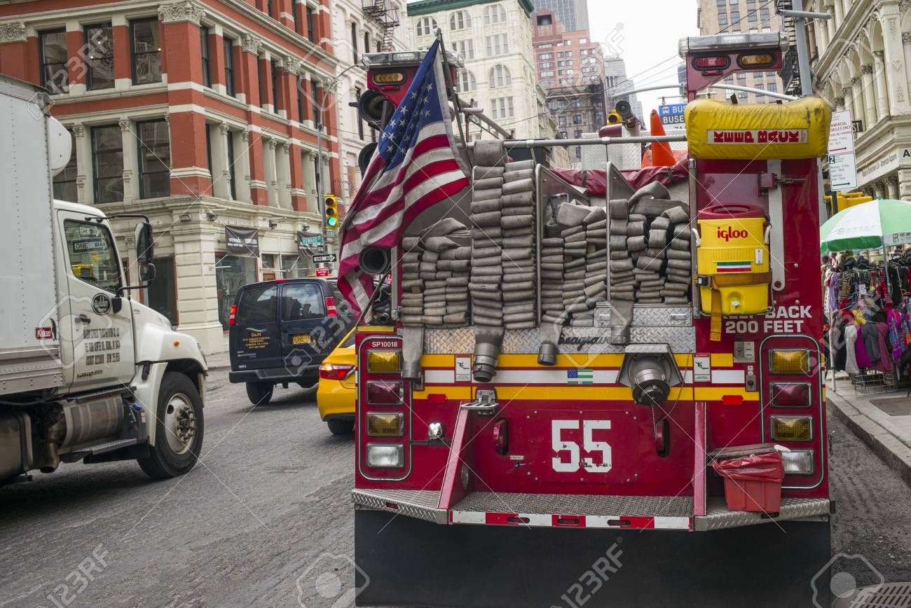 Fire engine on street, New York City, New York State, USA