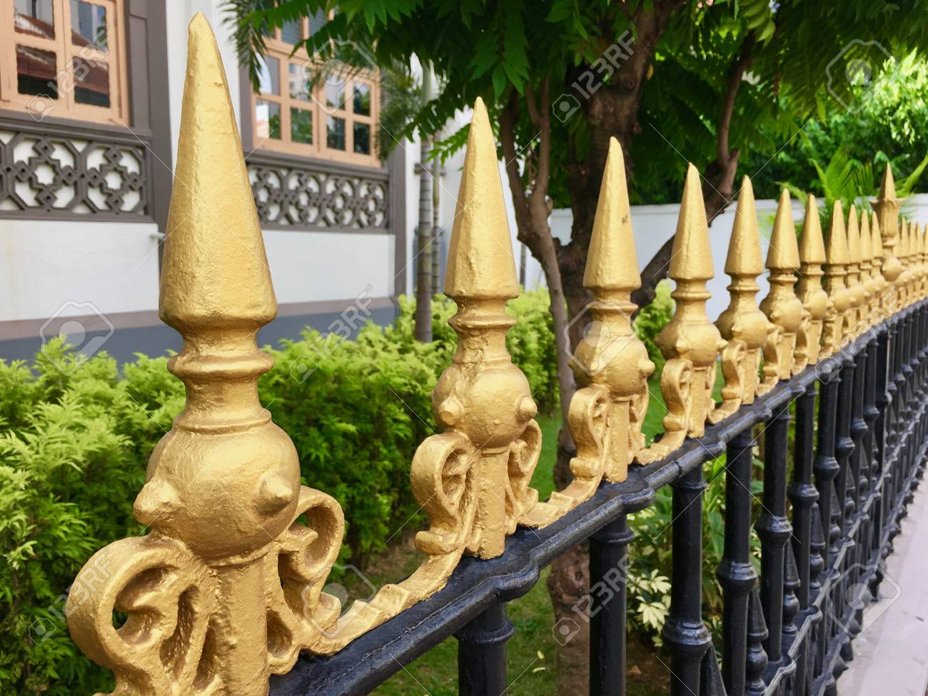 Iron Fence Top Details With Painted Golden Spikes Stock Photo ...