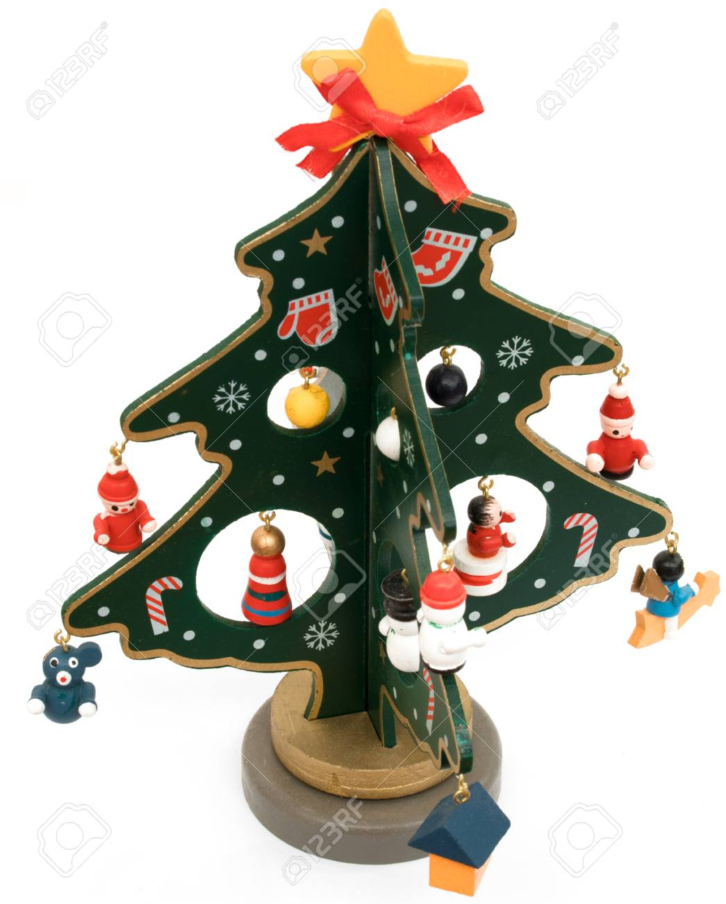 Colorful Painted Wooden Christmas Tree Isolated On White Background