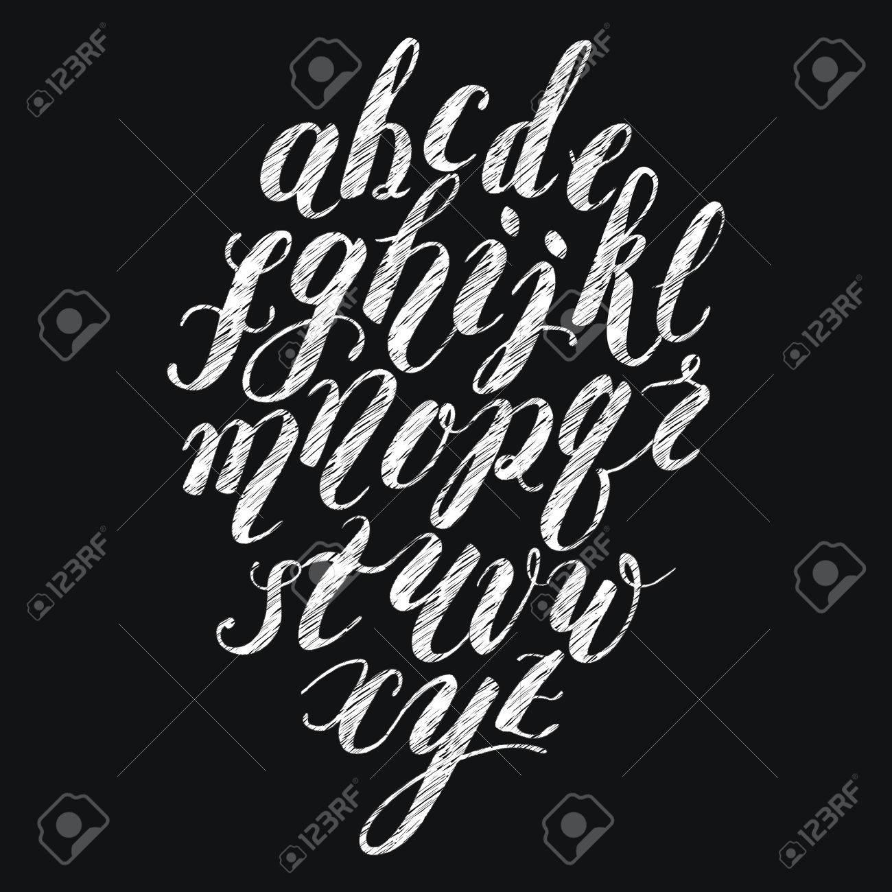 Chalk brush lettering alphabet